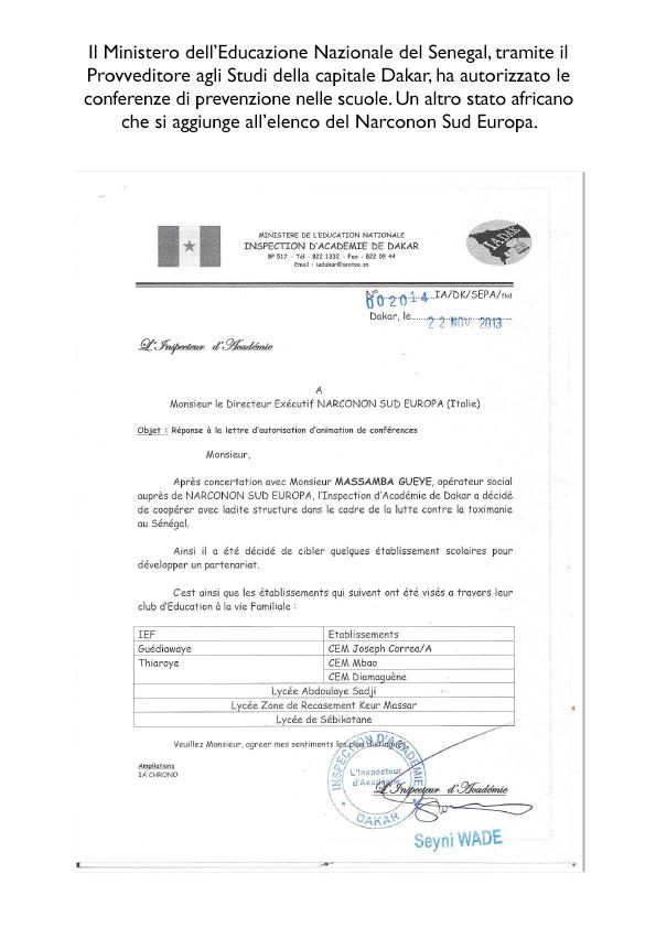 Narconon Sud Europa autorizzazione Senegal