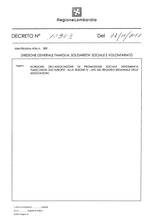 Narconon Sud Europa Riconoscimento Regionale pag.1