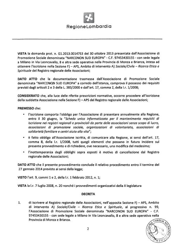 Narconon Sud Europa Riconoscimento Regionale pag.3