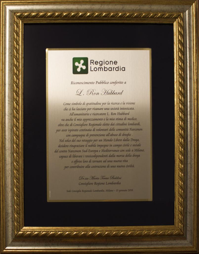Narconon Sud Europa Riconoscimento Regione Lombardia
