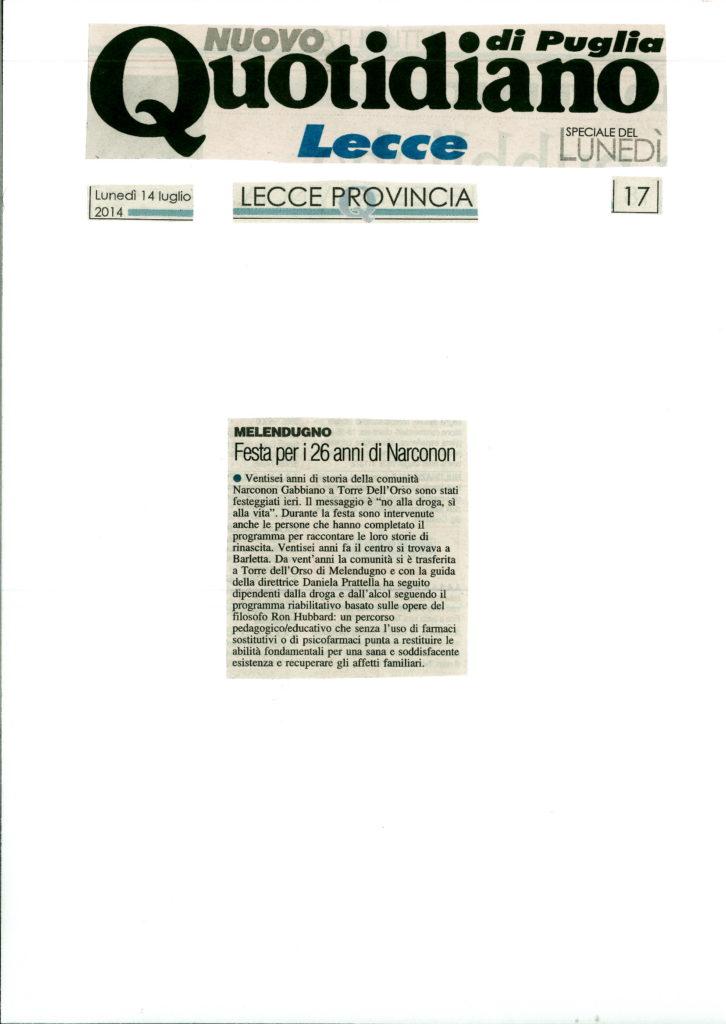 Quotidiano di Lecce Narconon