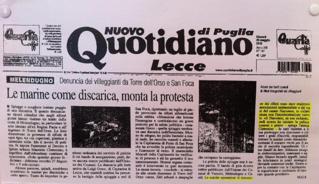 Quotidiano Lecce Narconon Gabbiano