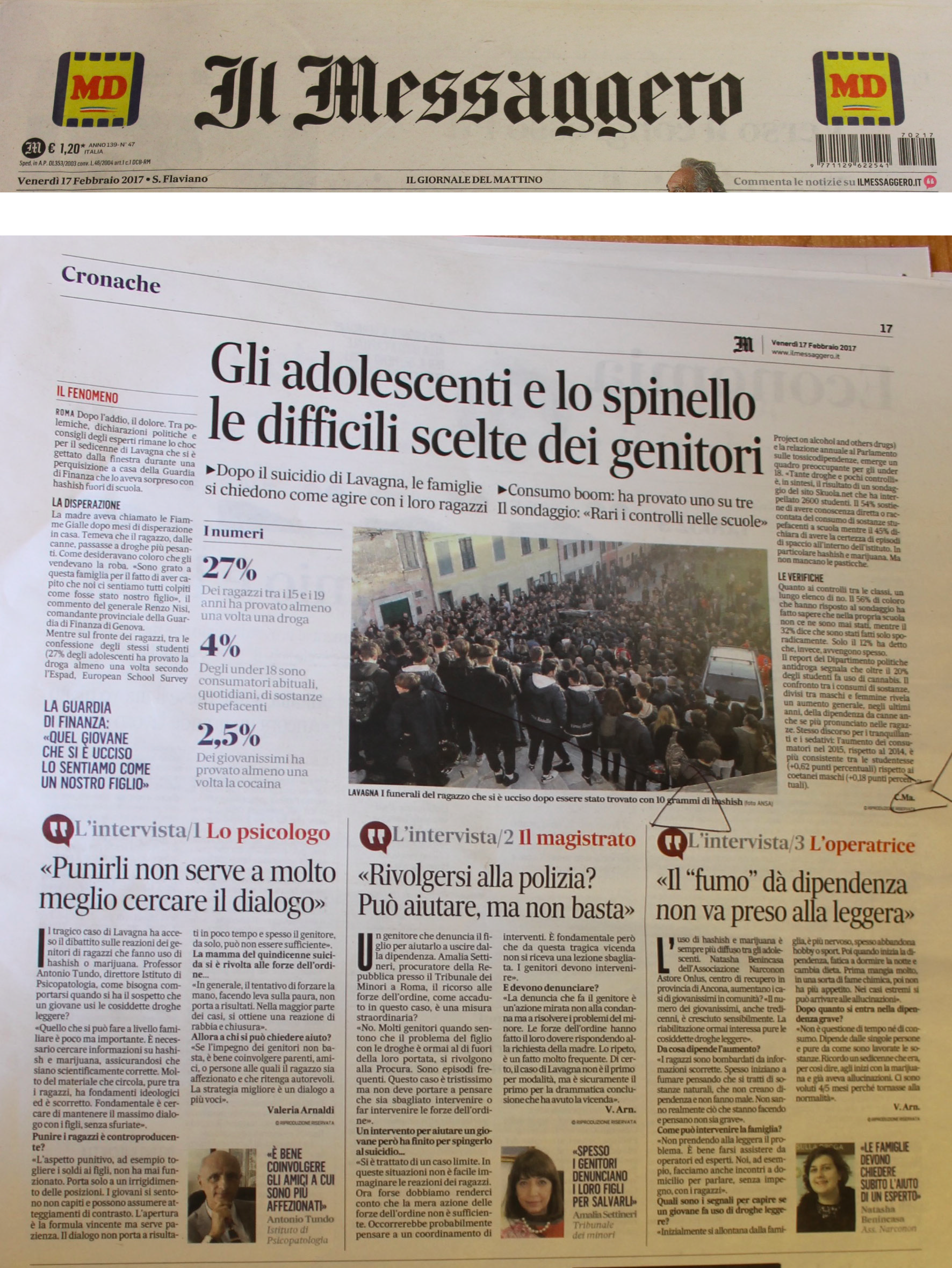 Intervista operatrice Narconon per il quotidiano il Messaggero