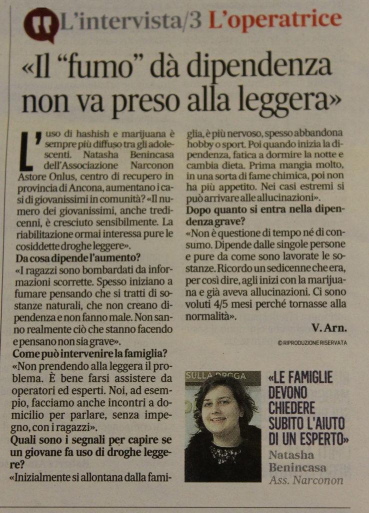 Intervista operatrice Narconon sul Il Messaggero