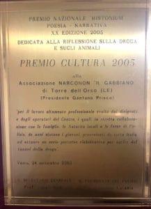 Narconon Premio Cultura Histonium